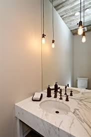 large bulb hanging lights powder room farmhouse with reclaimed