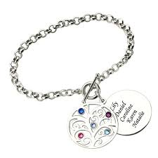 mothers birthstone bracelets engraved family tree bracelet with birthstones silver