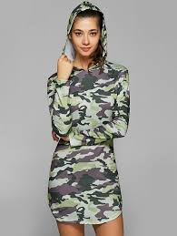 hooded long sleeve camo dress in camouflage l sammydress com