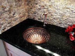 kitchen glittering black granite countertop with under mount