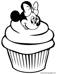 minnie mouse cupcake coloring pages printable