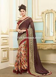 latest new collection brown color party wear market price saree