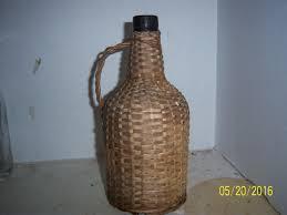 1930 u0027s honey amber green demi john wicker basket with
