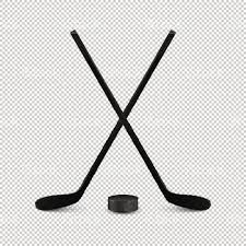 illustration of sports set two realistic crossed hockey sticks and