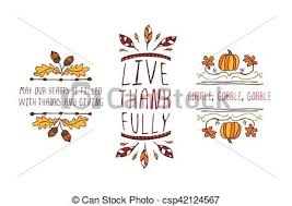set of thanksgiving elements and text on white background clip