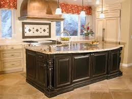 wooden high kitchen island featuring unique shape