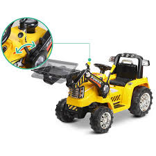 kids ride on toy tractor bulldozer yellow electric with parental