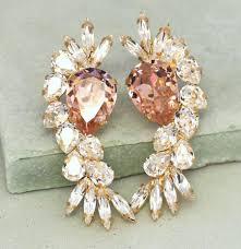 Pink Chandelier Earrings Bridal Earrings Blush Pink Chandelier Earrings Swarovski
