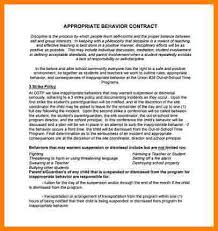 11 behavior contract letter format for