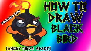 how to draw space black bird from angry birds space