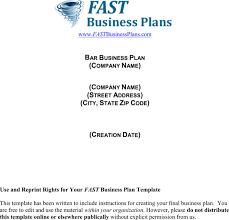 bar business plan sample
