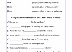 demonstrative pronouns worksheet education com
