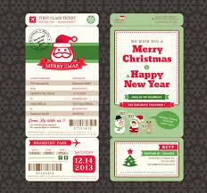 christmas card design boarding pass ticket template stock vector