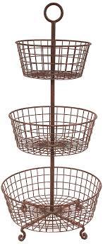 tiered fruit basket creative co op rust metal 3 tier basket home kitchen