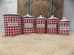 french vintage kitchen canisters set of five retro depose red french vintage kitchen canisters set of five retro depose red white enamel checked canisters kitchenalia housewarming gift farmhouse