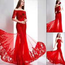 indian dresses women red tulle appliques lace off the shoulder