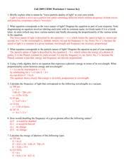 particles and energy worksheet solutions ch301 fall 2009