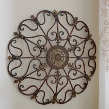 round wrought iron wall decor scroll fleur de lis antique vintage