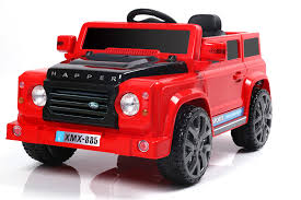 red land rover 6v 50w battery powered land rover style twin motor electric toy