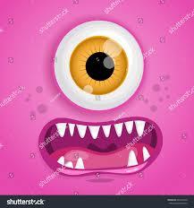 Monster Faces For Halloween Cartoon Monster Face Vector Halloween Pink Stock Vector 640416040