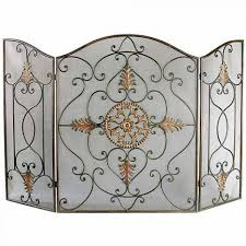 splendid black wrought iron fireplace screen with arched 3 panel