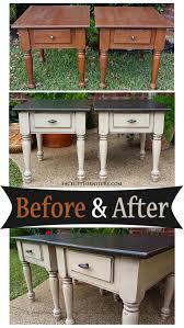 Old Bedroom Set Makeover End Tables In Distressed Black U0026 Oatmeal Before U0026 After