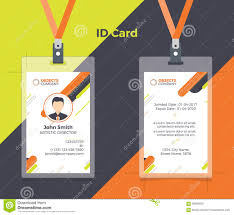 creative id card orange yellow color stock vector image 89282826