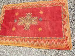 small moroccan vintage tribal berber orange color area rug 3x5