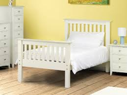 White Wood Single Bed Frame Barcelona White High Foot End At Mattressman