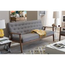 Wooden Sofas Baxton Studio Sorrento Mid Century Retro Modern Grey Fabric