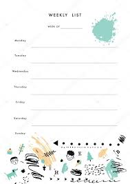 weekly planner template organizer and schedule u2014 stock vector