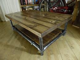 Rustic Industrial Coffee Table Teak Rectangle Varnished Wood Rustic Industrial Coffee Table