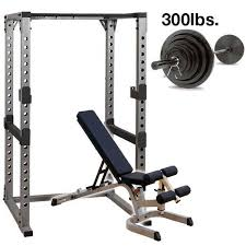 Weights And Bench Set Body Solid Power Rack Package With 300lb Set
