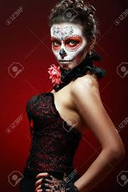 halloween make up sugar skull beautiful model with perfect