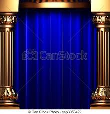 Blue Velvet Curtains Blue Velvet Curtains The Gold Columns Made In 3d Clip