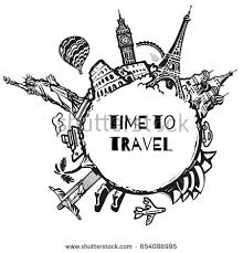 travel tourism background famous world landmarks stock vector