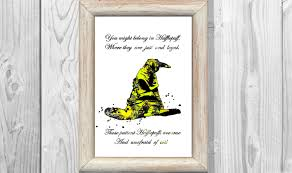 Harry Potter Home Decor by Harry Potter Poster Quote Hufflepuff Watercolor Print Sorting