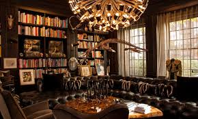 modern vintage decor home library interior design library study