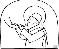 jew with shofar during rosh hashanah coloring page free