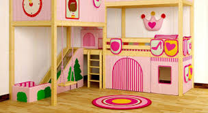 Double Deck Bed Designs Pink Bedroom Pink Girls Loft Bed With Slide And Swing Set For Kids