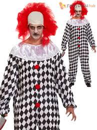 Scary Clown Halloween Costumes Men Mens Evil Scary Clown Costume Wig Halloween Fancy Dress Zombie