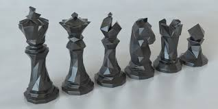 cool chess set 3d printed faceted chess set by thomas davis pinshape