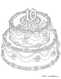 Birthday Cake 10 Years Coloring Pages Hellokids Com Coloring Pages For 10 Year Olds