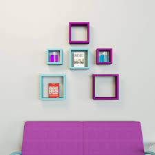 6 nesting square wall shelves rack unit sky blue u0026 purple
