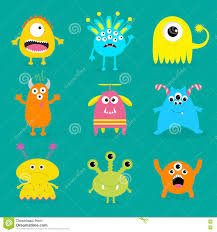 cute happy halloween background happy cartoon monster collection stock vector image 45725738
