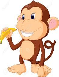 illustration of funny monkey eat banana royalty free cliparts