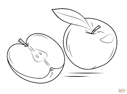 two apple fruits coloring pages simple for kids printable of