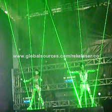 2w green laser show system for event including 2w laser stage