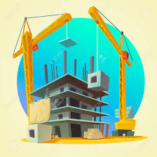 building style house building concept with retro style construction machinery