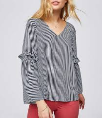striped blouse striped ruffle bell sleeve blouse loft
